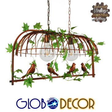 Vintage Industrial Κρεμαστό Φωτιστικό Οροφής Δίφωτο Καφέ Σκουριά Μεταλλικό Πλέγμα GloboStar CABALBI 01645
