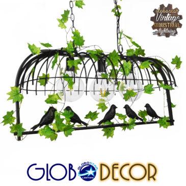 Vintage Industrial Κρεμαστό Φωτιστικό Οροφής Τρίφωτο Μαύρο Μεταλλικό Πλέγμα GloboStar JUDE 01646