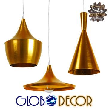 SET 3 Μοντέρνα Κρεμαστά Φωτιστικά Οροφής Μονόφωτα Χρυσά Μεταλλικά Καμπάνα GloboStar SHANGHAI GOLD 01678