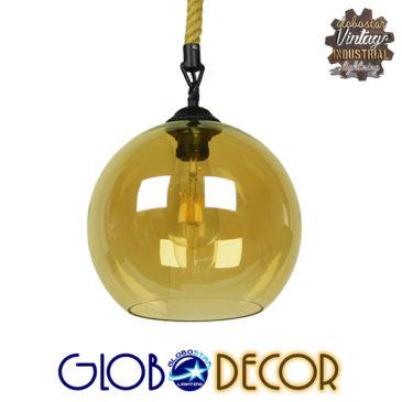 Μοντέρνο Κρεμαστό Φωτιστικό Οροφής Μονόφωτο με 1 Μέτρο Μπεζ Σχοινί Γυάλινο Μελί Διάφανο Φ25 GloboStar LENHAM 01668