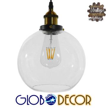 Vintage Κρεμαστό Φωτιστικό Οροφής Μονόφωτο Γυάλινο Καμπάνα Φ18 GloboStar COLLINS 01170