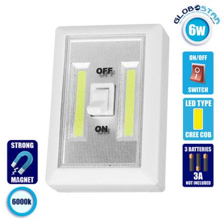 LED Φορητό Φωτιστικό Διακόπτης Τοίχου 2×3 Watt Μπαταρίας με Μαγνήτη GloboStar 07043