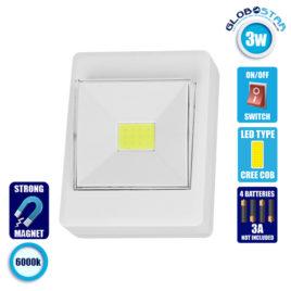LED Φορητό Φωτιστικό Διακόπτης Τοίχου 3 Watt Μπαταρίας με Μαγνήτη GloboStar 07044
