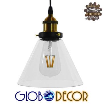 Vintage Κρεμαστό Φωτιστικό Οροφής Μονόφωτο Γυάλινο Καμπάνα Φ18 GloboStar CONE 01169