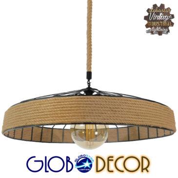 Vintage Κρεμαστό Φωτιστικό Οροφής Μονόφωτο Μαύρο Μεταλλικό με Μπεζ Σχοινί Φ80 GloboStar SAHARA 01416