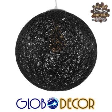Vintage Κρεμαστό Φωτιστικό Οροφής Μονόφωτο Μαύρο Ξύλινο Ψάθινο Rattan Φ40 GloboStar CALLE 01360