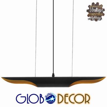Μοντέρνο Κρεμαστό Φωτιστικό Οροφής Δίφωτο Μαύρο Χρυσό Μεταλλικό GloboStar ESTERINA 01304