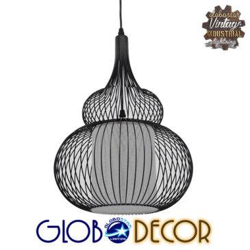 Μοντέρνο Κρεμαστό Φωτιστικό Οροφής Μονόφωτο Μαύρο Μεταλικό Πλέγμα με Υφασμάτινο Εσωτερικό Καπέλο  Φ31 GloboStar PANYA 01199