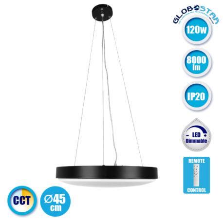 Μοντέρνο Κρεμαστό Φωτιστικό Οροφής Μαύρο Πλαφονιέρα LED CCT 2700k έως 6000k 120W 230V 8000lm με Ασύρματο Χειριστήριο Φ45 Dimmable GloboStar 05602