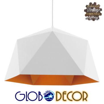 Μοντέρνο Κρεμαστό Φωτιστικό Οροφής Μονόφωτο Λευκό Χρυσό Μεταλλικό Καμπάνα Φ46 GloboStar CHILUM 01378
