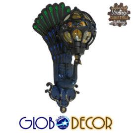 Vintage Φωτιστικό Τοίχου Απλίκα Μονόφωτο Μαύρο Μεταλλικό Πλέγμα με Γυαλί GloboStar CORNELIA 01250