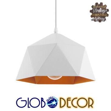 Μοντέρνο Κρεμαστό Φωτιστικό Οροφής Μονόφωτο Λευκό Χρυσό Μεταλλικό Καμπάνα Φ25 GloboStar DIVINA 01377