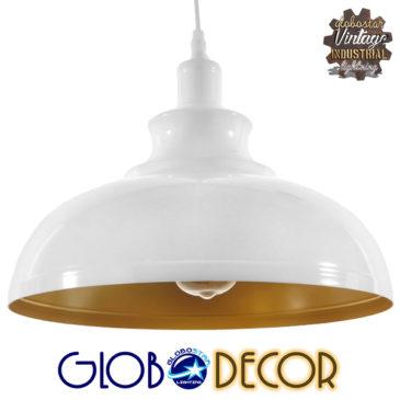 Μοντέρνο Κρεμαστό Φωτιστικό Οροφής Μονόφωτο Λευκό Χρυσό Μεταλλικό Καμπάνα Φ35 GloboStar OBERYN 00999