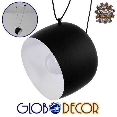Μοντέρνο Κρεμαστό Φωτιστικό Οροφής Μονόφωτο Μεταλλικό Μαύρο Λευκό Καμπάνα Φ25 GloboStar JASPER 01373