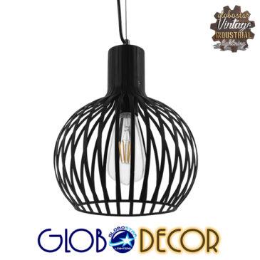 Vintage Industrial Κρεμαστό Φωτιστικό Οροφής Μονόφωτο Μαύρο Μεταλλικό Πλέγμα Φ23 GloboStar SCANDI 01386