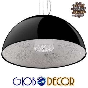 Μοντέρνο Κρεμαστό Φωτιστικό Οροφής Μονόφωτο Μαύρο Γύψινο Καμπάνα Φ90 GloboStar SERENIA BLACK 01272