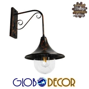 Vintage Φωτιστικό Τοίχου Απλίκα Μονόφωτο Καφέ Σκουριά Μεταλλικό Καμπάνα Φ28 GloboStar ANNIEL IRON RUST 01124