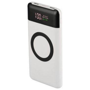 Φορτιστής Μπαταριά Ασύρματης Φόρτισης με Οθόνη Wireless Power Bank 10000mAh με δύο Θύρες USB & Type C Χρώμα Λευκό 8906
