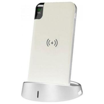 Φορτιστής Μπαταριά με Ασύρματη Φόρτιση και Βάση Wireless Power Bank 8000mAh με Βάση Χρώμα Λευκό 8861