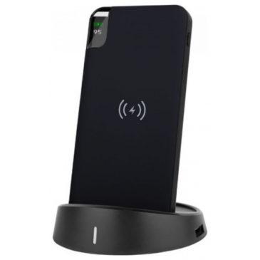 Φορτιστής Μπαταριά με Ασύρματη Φόρτιση και Βάση Wireless Power Bank 8000mAh με Βάση Χρώμα Μαύρο 8863