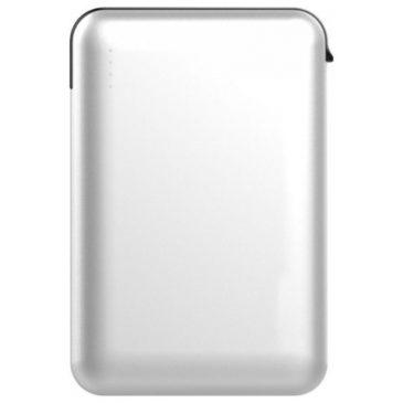 Φορτιστής Μπαταριά Power Bank 5000mAh με LED Ενδείξεις USB και ενσωματωμένο Γκρι καλώδιο Χρώμα Λευκό 8864