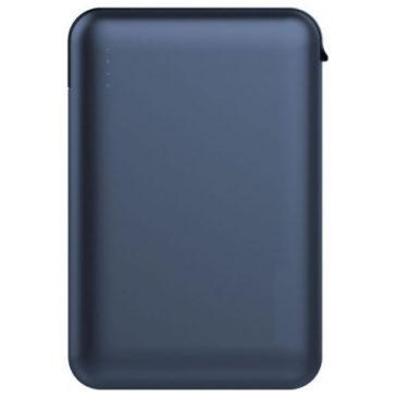 Φορτιστής Μπαταριά Power Bank 5000mAh με LED Ενδείξεις USB και ενσωματωμένο Μαύρο καλώδιο Χρώμα Μπλε 8868