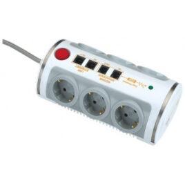 Πολύπριζο με Προστασία  πολλών θέσεων υποδοχές LAN + USB με Διακόπτη(T-11460)