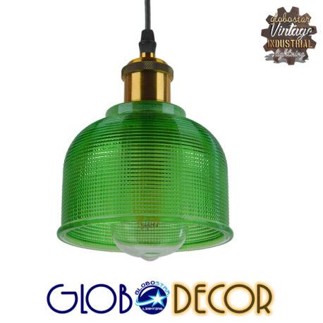 Vintage Κρεμαστό Φωτιστικό Οροφής Μονόφωτο Πράσινο Γυάλινο Διάφανο Καμπάνα με Χρυσό Ντουί Φ14 GloboStar SEGRETO GREEN 01451