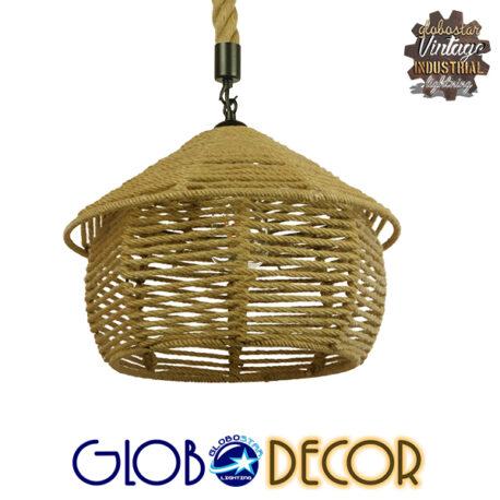 Vintage Κρεμαστό Φωτιστικό Οροφής Μονόφωτο Πλέγμα με Μπεζ Σχοινί Φ36 GloboStar SPIRIT 01607