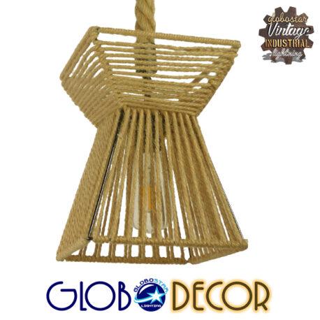 Vintage Κρεμαστό Φωτιστικό Οροφής Μονόφωτο Πλέγμα με Μπεζ Σχοινί Φ21 GloboStar ROUGE 01611