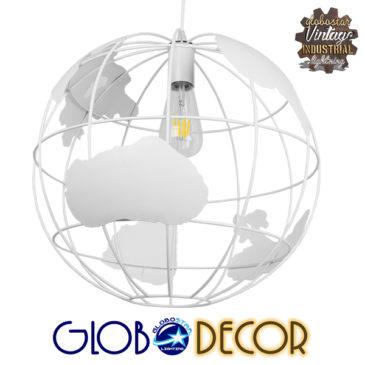 Vintage Industrial Κρεμαστό Φωτιστικό Οροφής Μονόφωτο Λευκό Μεταλλικό Πλέγμα Φ40 GloboStar EARTH WHITE 40CM 01664