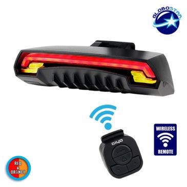 Ασύρματο Οπίσθιο Φανάρι Ποδηλάτου LED Stop – Αριστερό Φλάς – Δεξί Φλάς με Χειριστήριο Τιμονιού Επαναφορτιζόμενο USB GloboStar 06206