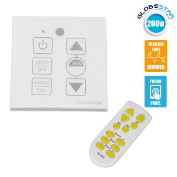 Dimmer Touch για LED 220 Volt 200 Watt Trailing Edge Ασύρματο Λευκό GloboStar 50044