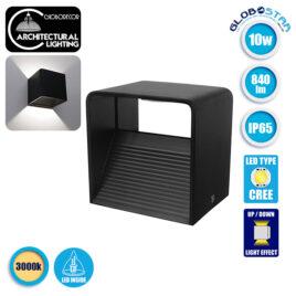 LED Φωτιστικό Τοίχου Απλίκα Κύβος Αρχιτεκτονικού Φωτισμού Μαύρο IP54 10 Watt CREE 840lm 60° 230V Θερμό Λευκό GloboStar 96434