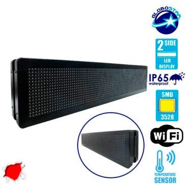Αδιάβροχη Κυλιόμενη Επιγραφή SMD LED 230V USB & WiFi Κόκκινη Διπλής Όψης 100x20cm GloboStar 90101