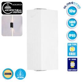 LED Φωτιστικό Τοίχου Αρχιτεκτονικού Φωτισμού Slim Line Up Down Λευκό IP65 10 Watt CREE 10° 1400lm 230v Θερμό Λευκό GloboStar 96440