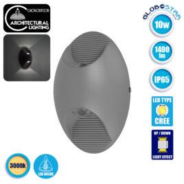 LED Φωτιστικό Τοίχου Αρχιτεκτονικού Φωτισμού Οβάλ Up Down Γκρι IP65 10 Watt CREE 24° 1400lm 230v Θερμό Λευκό GloboStar 96455