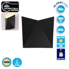 LED Φωτιστικό Τοίχου Απλίκα STEALTH Αρχιτεκτονικού Φωτισμού Μαύρο IP65 10 Watt CREE 1000lm 60° 230V Θερμό Λευκό GloboStar 96504
