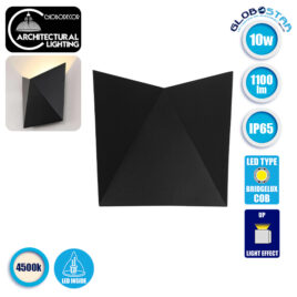 LED Φωτιστικό Τοίχου Απλίκα STEALTH Αρχιτεκτονικού Φωτισμού Μαύρο IP65 10 Watt CREE 1100lm 60° 230V Φυσικό Λευκό GloboStar 96505
