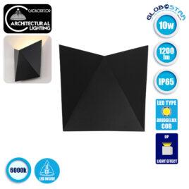 LED Φωτιστικό Τοίχου Απλίκα STEALTH Αρχιτεκτονικού Φωτισμού Μαύρο IP65 10 Watt CREE 1200lm 60° 230V Ψυχρό Λευκό GloboStar 96506