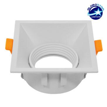 Χωνευτή Τετράγωνη Βάση Αρχιτεκτονικού Φωτισμού για Spot Φ91 Λευκή Κινούμενη GloboStar 97020
