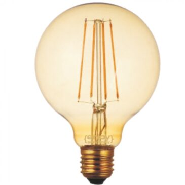 LED FILLAMENT DIM Amber Glass G95-4 4W E27 2200k 380lm (EL822113)