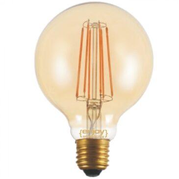 LED FILLAMENT DIM Amber Glass G95-6 6W E27 2200k 550lm (EL822116)