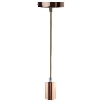 Φωτιστικό Ντουί Ε27 Σιδερένιο Ροζέ Χρυσό Γυαλιστερό με 1,5m καλώδιο Χρυσό 327101 (EL327101)