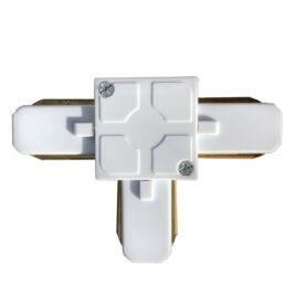 Μονοφασικός Connector 2 Καλωδίων Συνδεσμολογίας Ταφ (Τ) για Λευκή Ράγα Οροφής GloboStar 93024