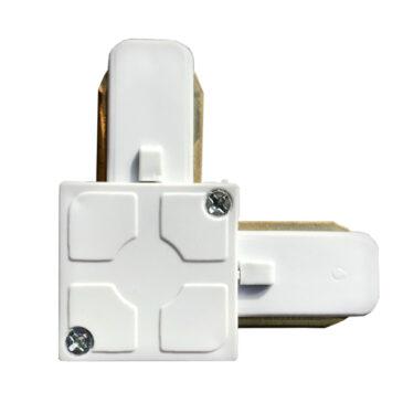 Μονοφασικός Connector 2 Καλωδίων Συνδεσμολογίας Ελ (L) για Λευκή Ράγα Οροφής GloboStar 93026