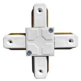 Μονοφασικός Connector 2 Καλωδίων Συνδεσμολογίας Cross (+) για Λευκή Ράγα Οροφής GloboStar 93028