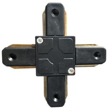 Μονοφασικός Connector 2 Καλωδίων Συνδεσμολογίας Cross (+) για Μαύρη Ράγα Οροφής GloboStar 93029