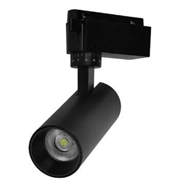 Μονοφασικό Bridgelux COB LED Μάυρο Φωτιστικό Σποτ Ράγας 10W 230V 1300lm 30° Ψυχρό Λευκό 6000k GloboStar 93095