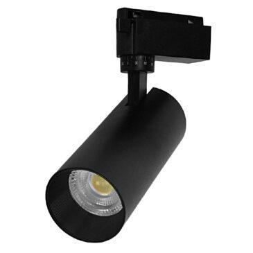 Μονοφασικό Bridgelux COB LED Μάυρο Φωτιστικό Σποτ Ράγας 20W 230V 2500lm 30° Φυσικό Λευκό 4500k GloboStar 93103